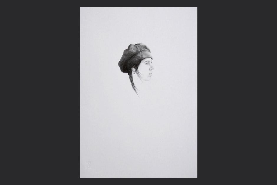 escucho grises. grafito sobre papel. 2007. 48x33cm