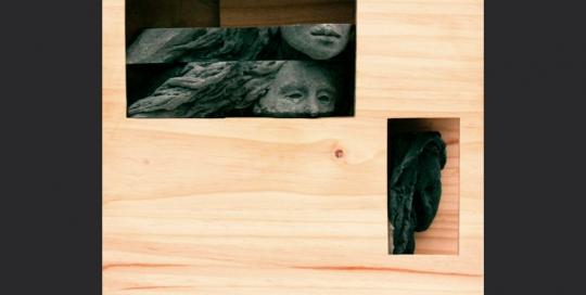 sombra de tu sombra. ensamblaje madera y yeso. 2007. 39x40x12cm