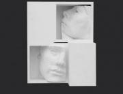retrato julia y sebastián, de la serie cantos de silencio. ensamblaje madera y yeso. 2004. 27x21x13cm