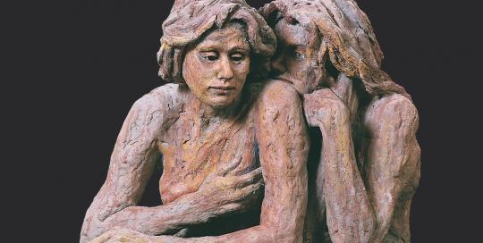 secreto. terracota pintada en frío. 1997. 71x68cm