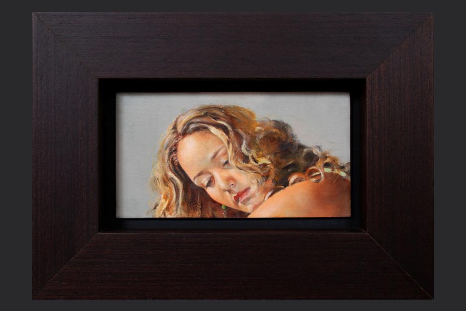 Enamorada del viento, retrato. óleo sobre lienzo. 2007. 10x19cm
